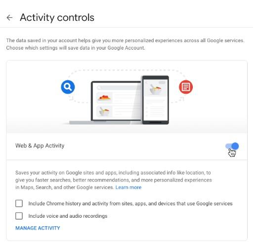 disable web activity