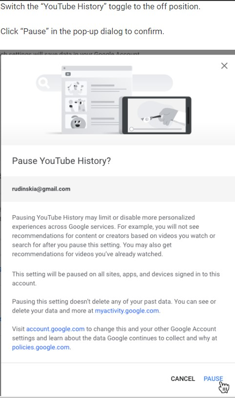 disable youtube history