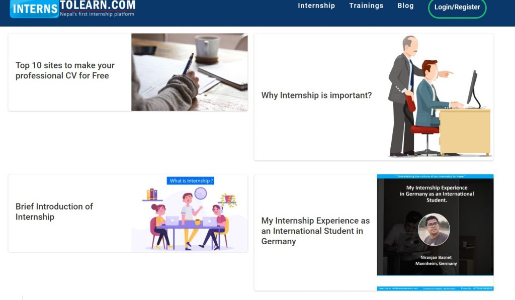 intern to learn blog page