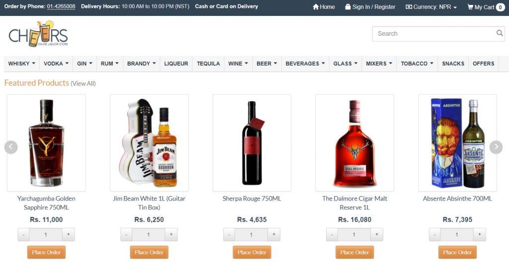 cheers online liquor store in nepal