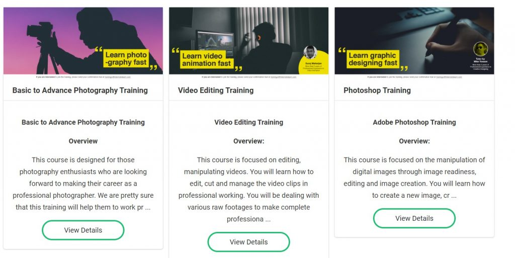intern to learn training page