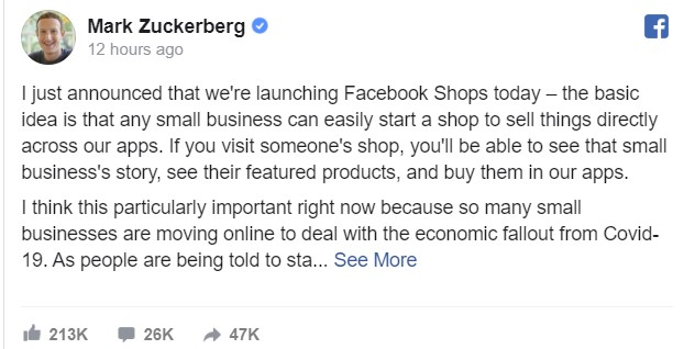 Facebook shop Mark Zuckerberg