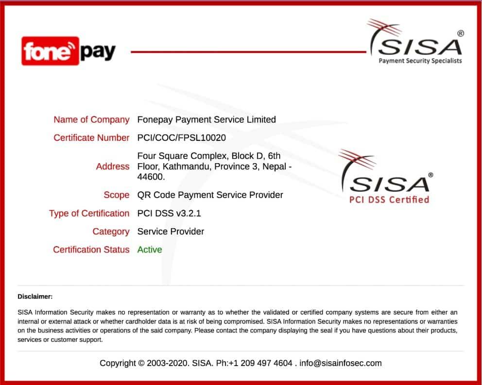 Fonepay PCI DSS Certificate