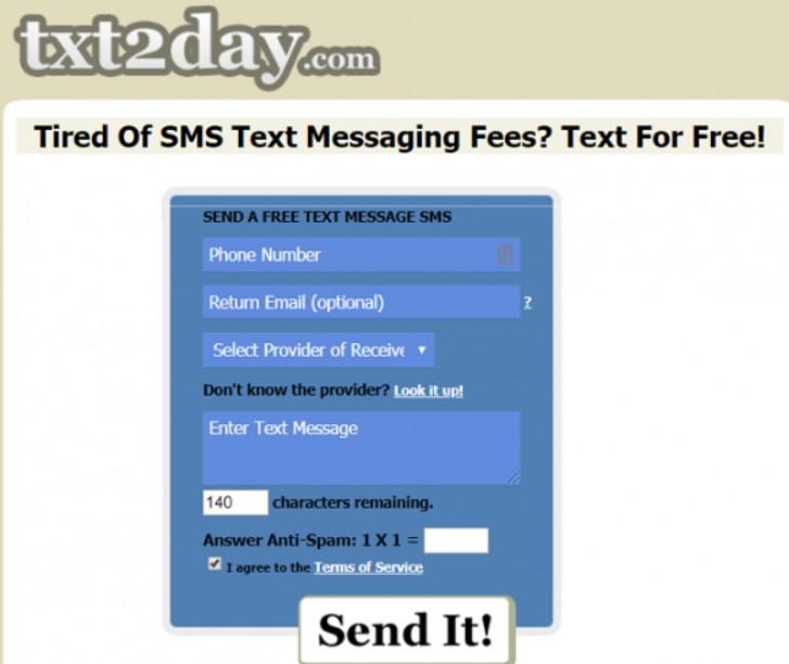 txt2day send free sms