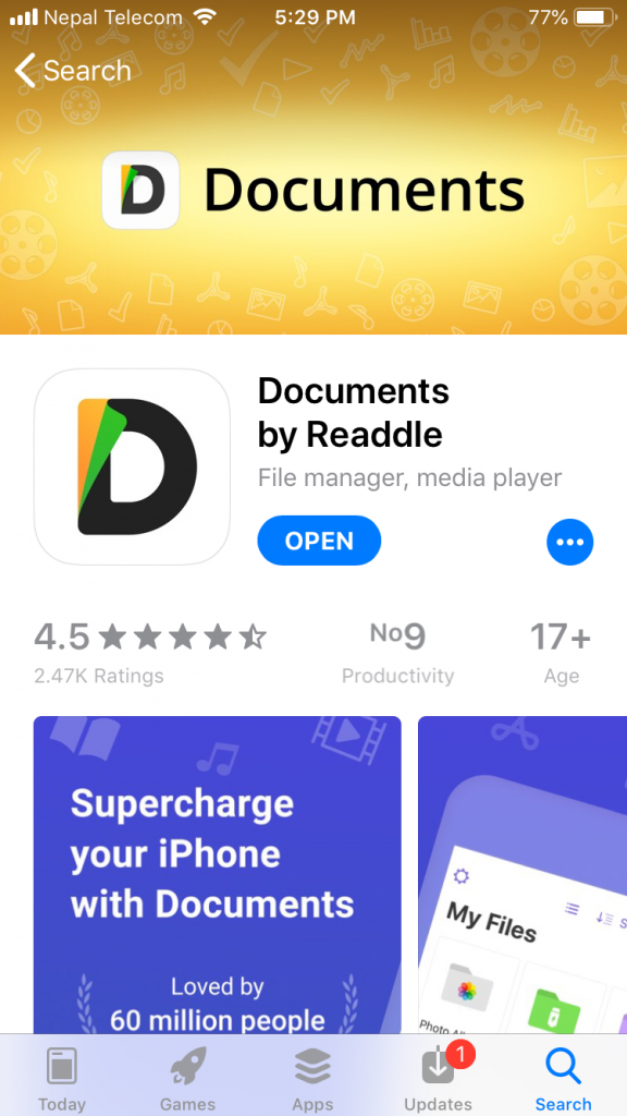 Download Documents by Readdle to download YouTube videos for free