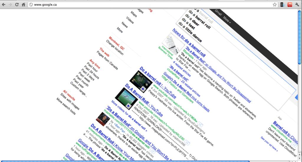 Barrel roll on Google