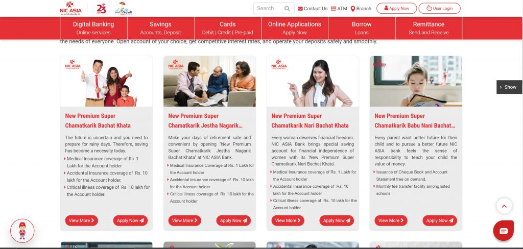 NIC ASIA Digital Account type