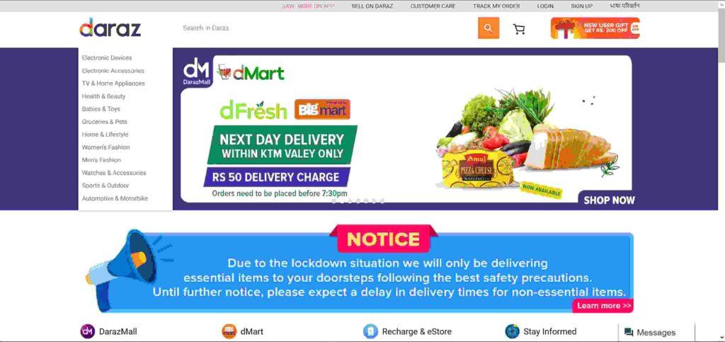 Daraz online shopping sites in Nepal