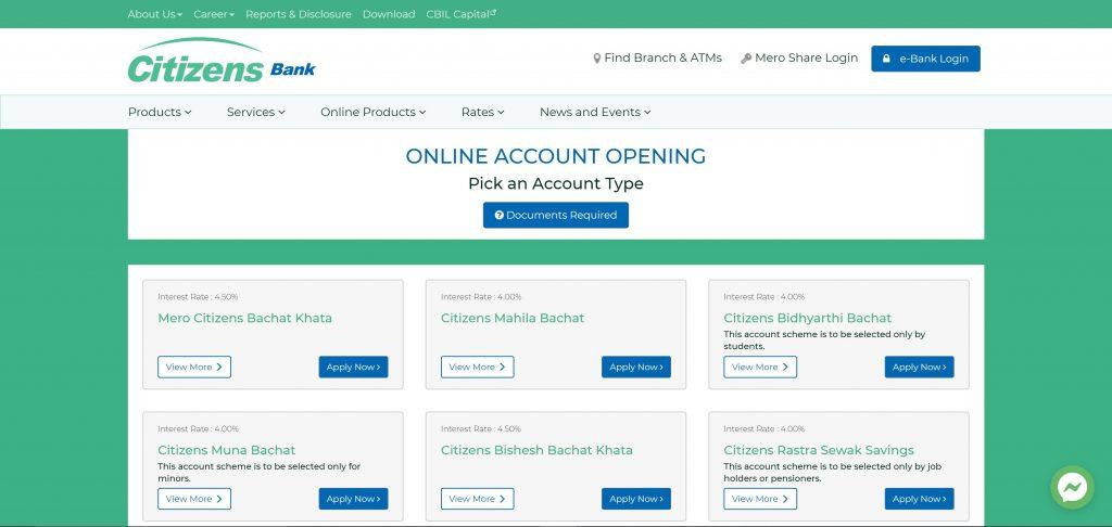 Citizen Bank Online Account type