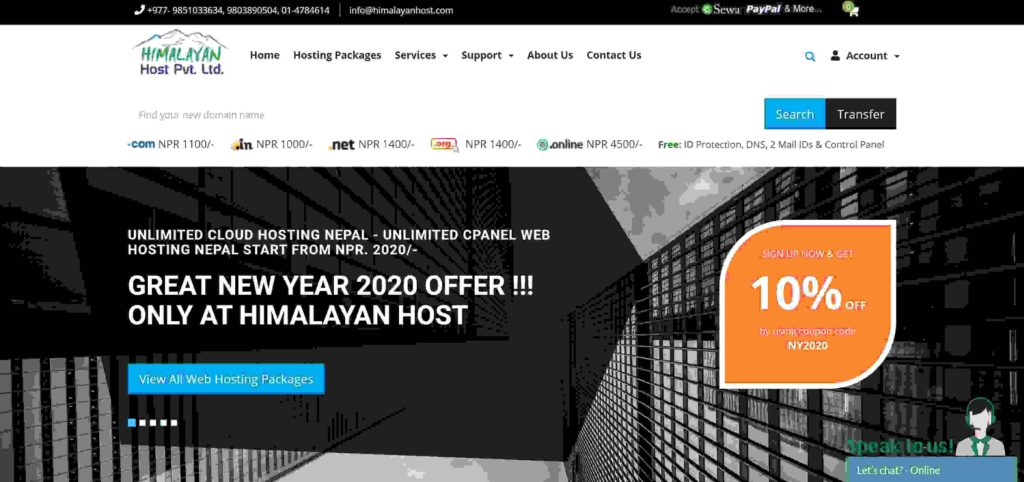 Himalayan host best and cheap hosting sites in Nepal
