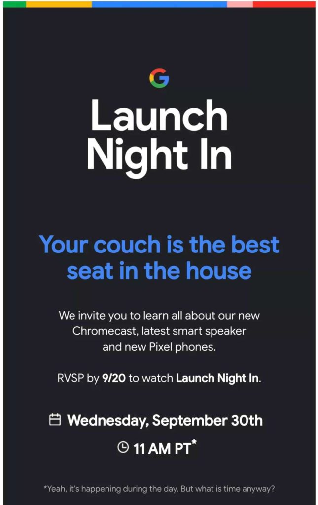 Google Pixel 5 launch invitation