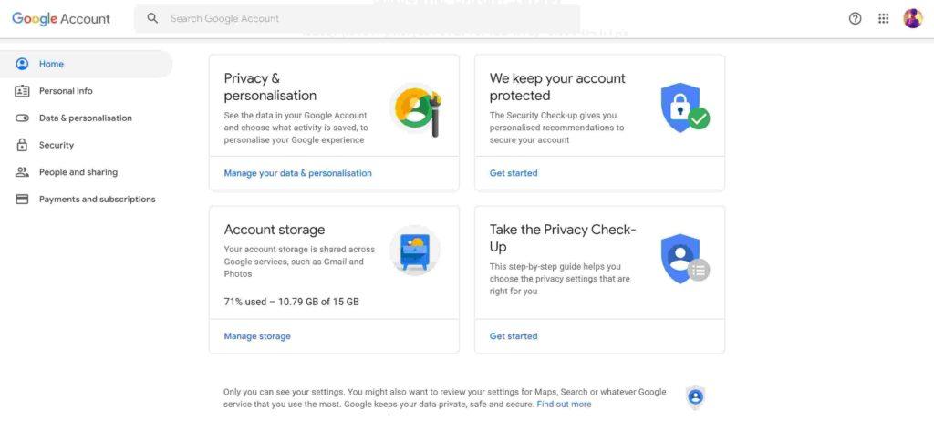 delete data on Google