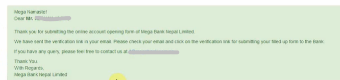 Open Mega Bank Online Account confirm