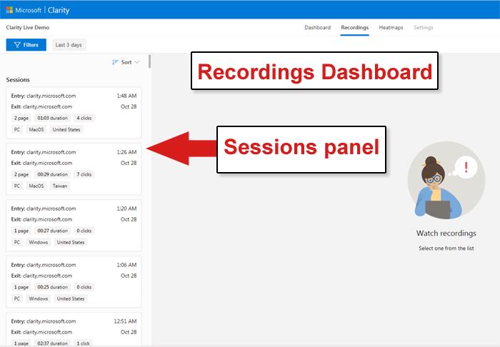 clarity recordings dashboard