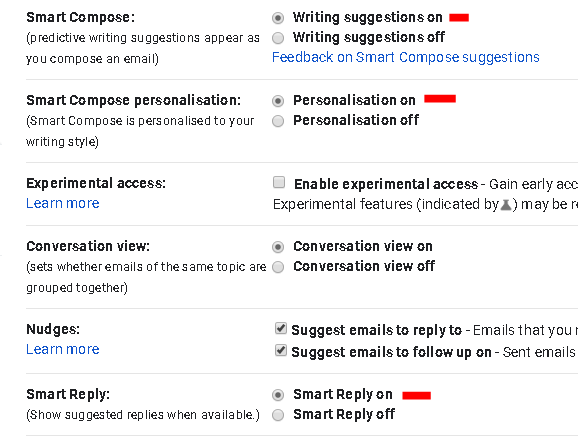 I turn on smart reply in Gmail