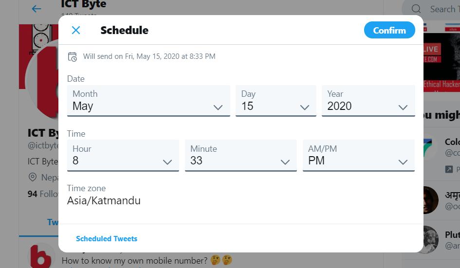 Tweet Scheduling in Twitter