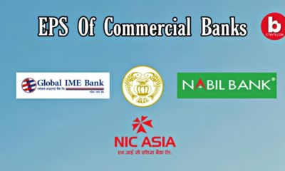 Earnings per share (EPS) of 27 commercial banks in Nepal