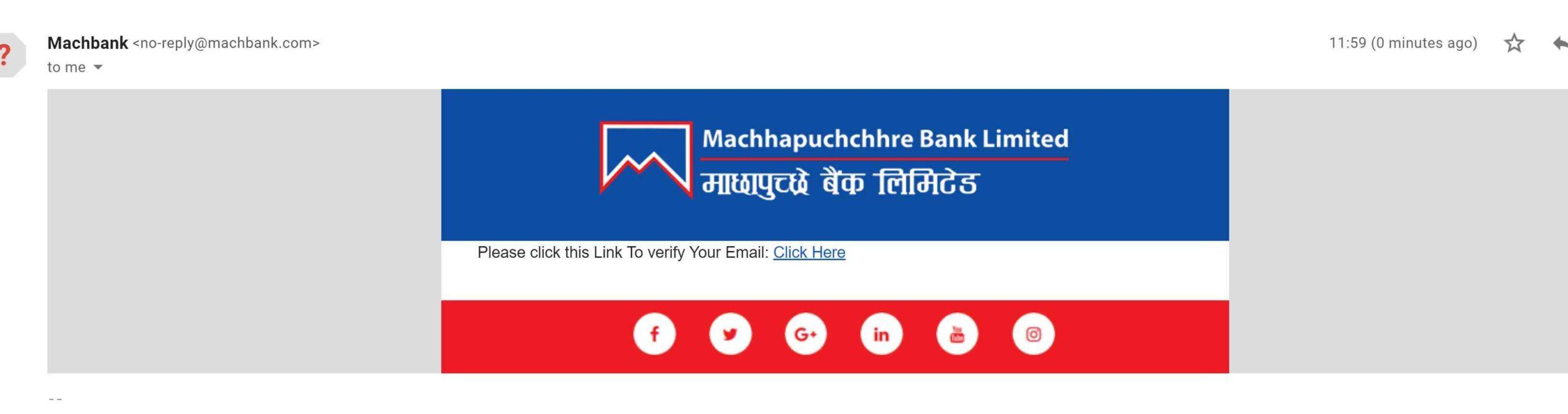 online account for machhacpuchchhre bank verification