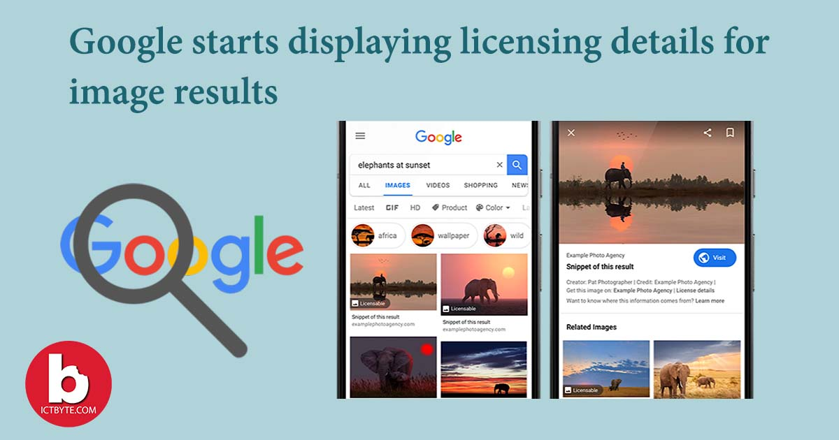 licensing details for image results feature