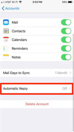 Automatic reply settings